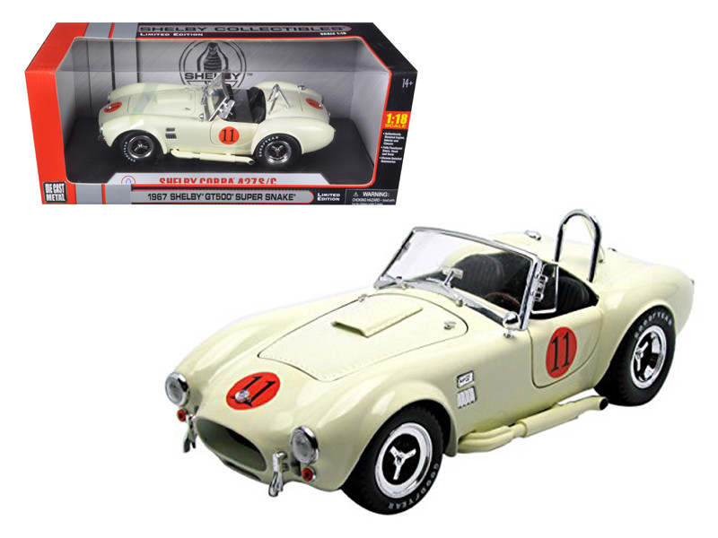 1965 Shelby Cobra 427 SC Cream #11 Limited Edition 1/18 Diecast Model Car Shelby Collectibles SC136