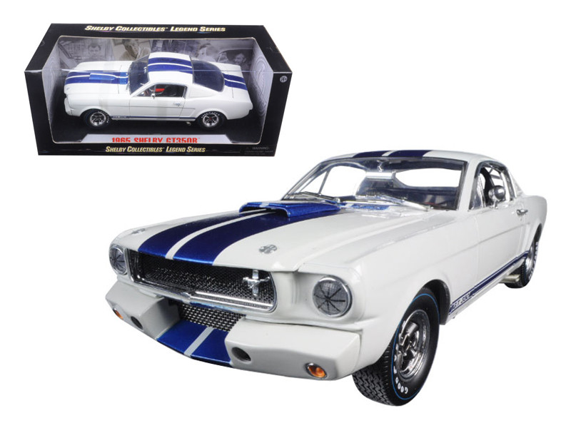 1965 Ford Mustang Shelby GT350R White Blue Stripes Printed Carroll Shelby's Signature on the Roof 1/18 Diecast Model Car Shelby Collectibles SC168-1