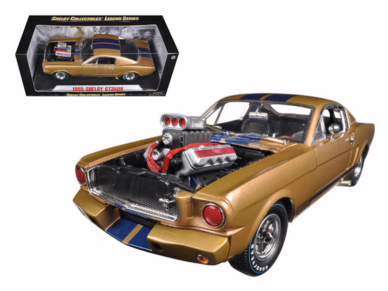 1965 Ford Shelby Mustang GT 350R Gold/Blue 1/18 Diecast Car Model Shelby Collectibles SC179