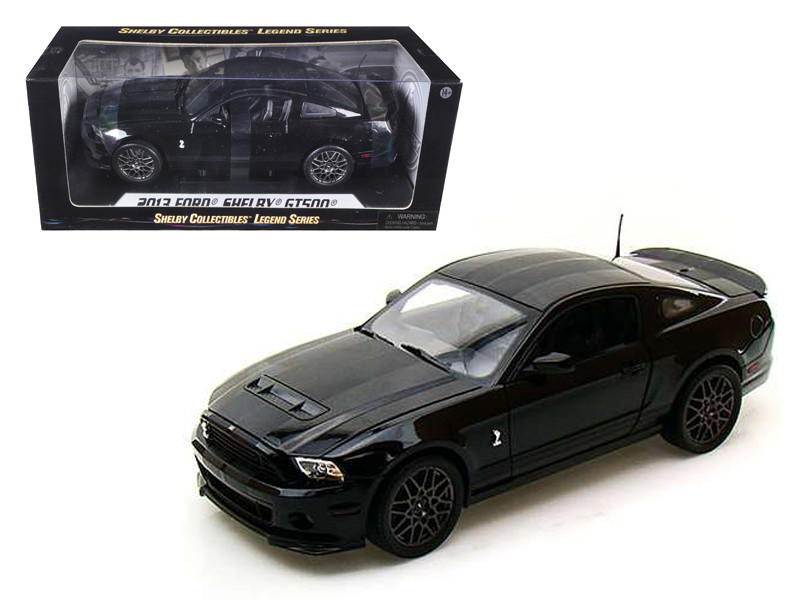 2013 Ford Shelby Cobra GT500 SVT Black with Black Stripes 1/18 Diecast Car Model Shelby Collectibles SC392