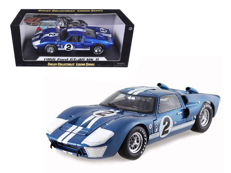 1966 Ford GT40 GT 40 Mark II #2 Blue 12 Hours of Sebring 1/18 Diecast Car Model Shelby Collectibles SC401