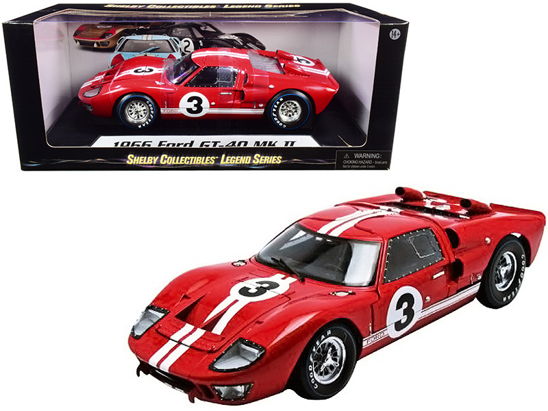1966 Ford GT-40 MK 2 Red #3 1/18 Diecast Car Model Shelby Collectibles SC406R