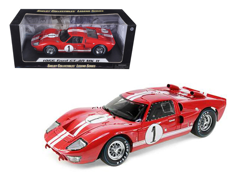 1966 Ford GT-40 MK 2 Red #1 1/18 Diecast Model Car Shelby Collectibles SC407