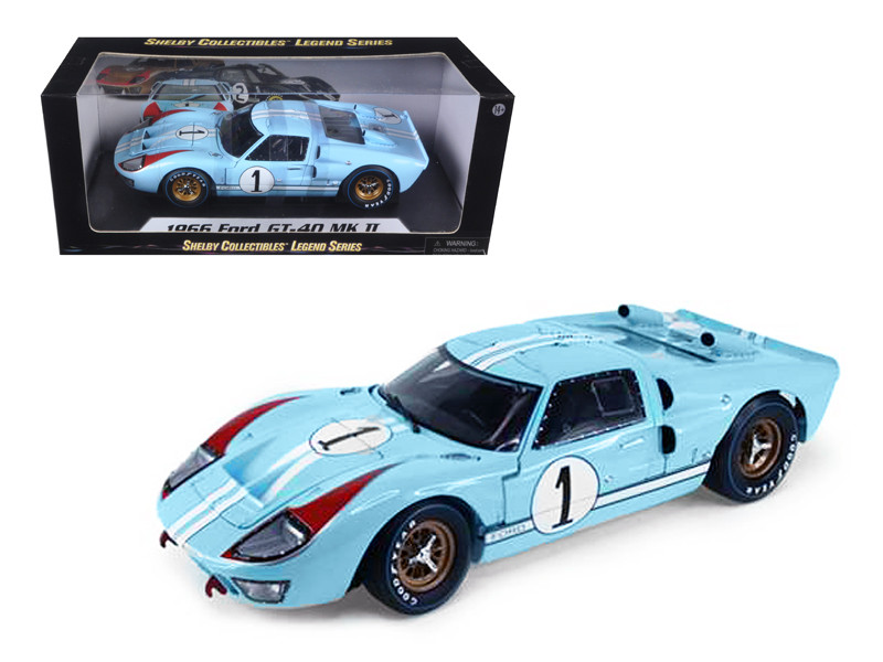 1966 Ford GT-40 MK 2 Blue #1 1/18 Diecast Model Car Shelby Collectibles SC411