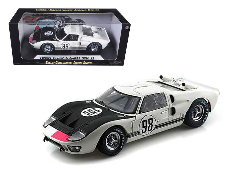 1966 Ford GT-40 MK 2 #98 White 1/18 Diecast Car Model Shelby Collectibles SC415
