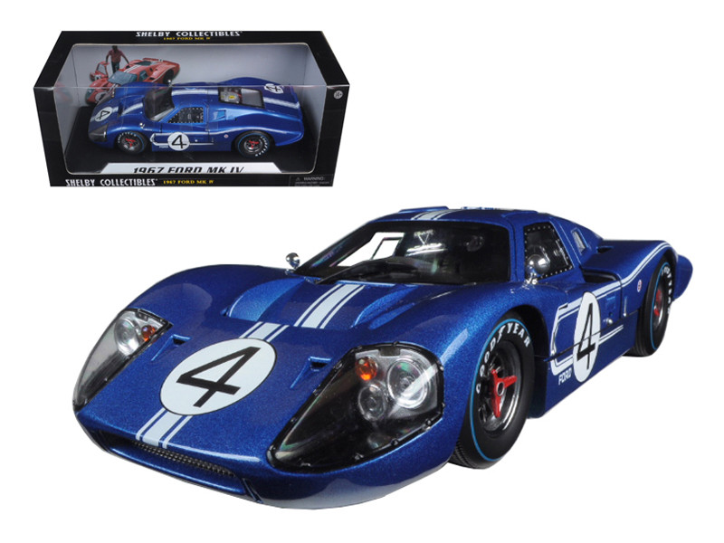 1967 Ford GT MK IV #4 Blue Le Mans 24 Hours L.Ruby / D.Hulme 1/18 Diecast Model Car by Shelby Collectibles