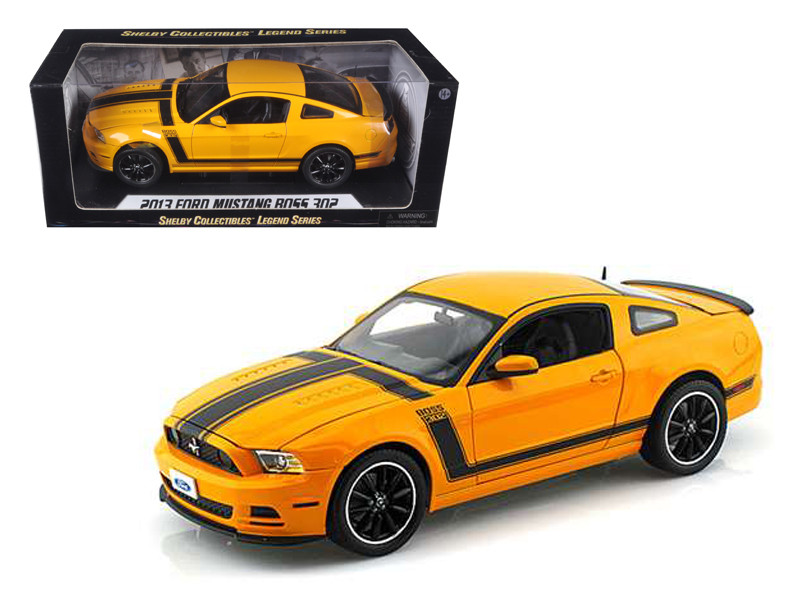 2013 Ford Mustang Boss 302 Yellow 1/18 Diecast Car Model Shelby Collectibles SC451