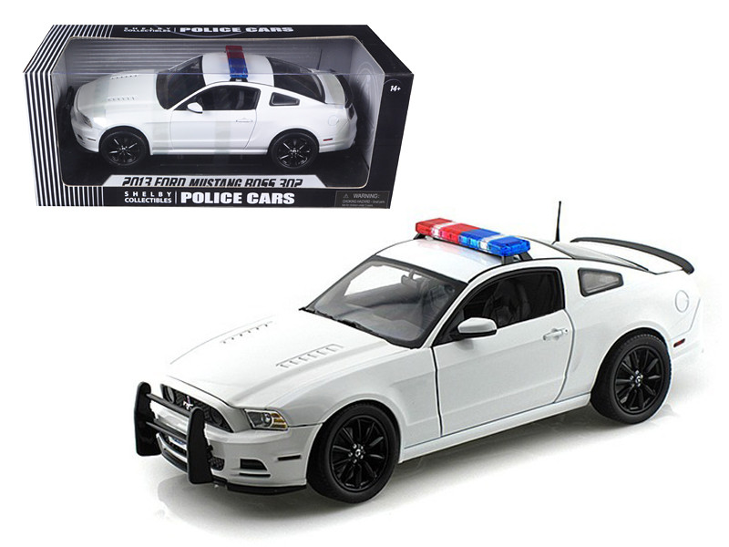2013 Ford Mustang Boss 302 White Unmarked Police Car 1/18 Diecast Car Model by Shelby Collectibles