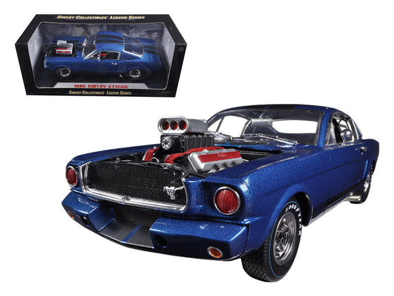 1965 Ford Shelby Mustang GT350R With Racing Engine Blue With Black Stripes 1/18 Diecast Car Model Shelby Collectibles SC510