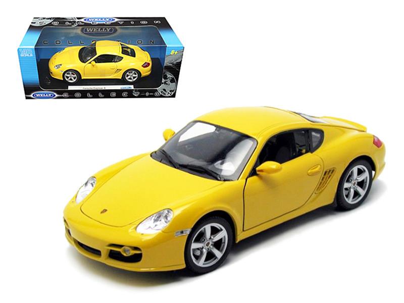 Porsche Cayman S Yellow 1/18 Diecast Car Model Welly 18008