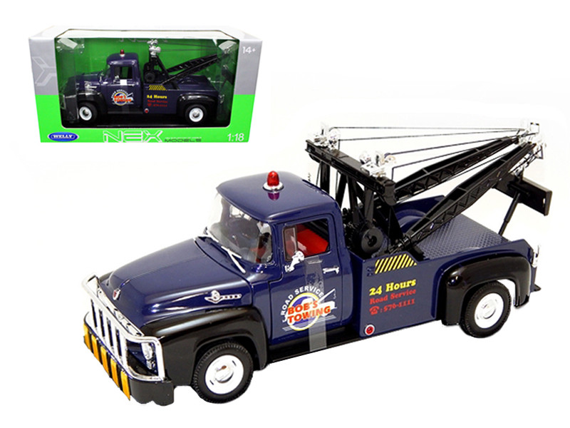 1956 Ford F-100 Tow Truck Bob's Towing Blue 1/18 Diecast Car Model Welly 19834