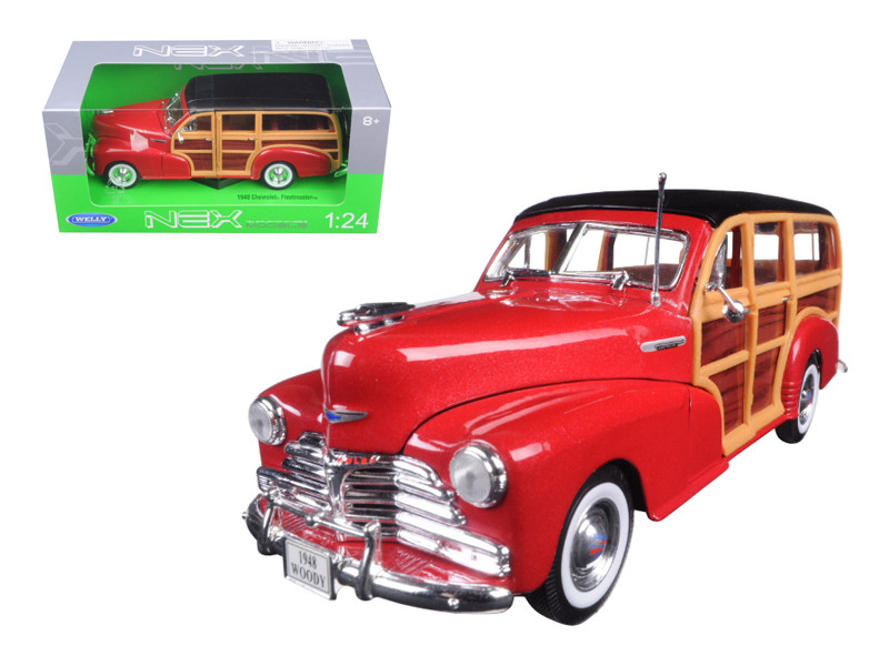1948 Chevrolet Woody Wagon Fleetmaster Red 1/24 Diecast Model Car Welly 22083