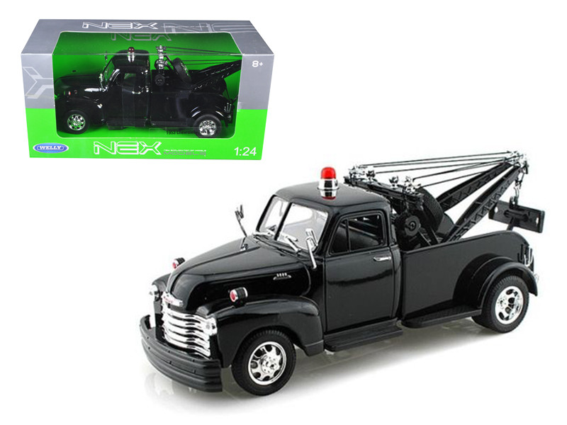 1953 Chevrolet 3800 Tow Truck Plain Black 1/24 Diecast Model Welly 22086