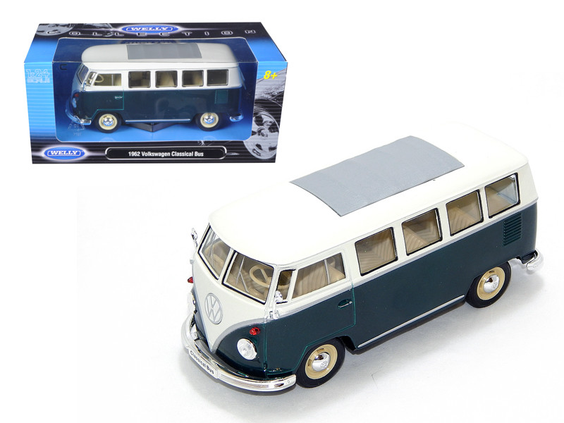 1962 Volkswagen Microbus Green 1/24 Diecast Model Car Welly 22095