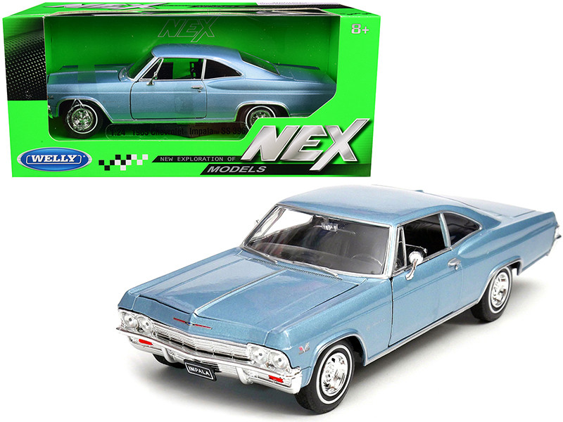 1965 Chevrolet Impala SS 396 Light Blue 1/24 Diecast Car Model Welly 22417