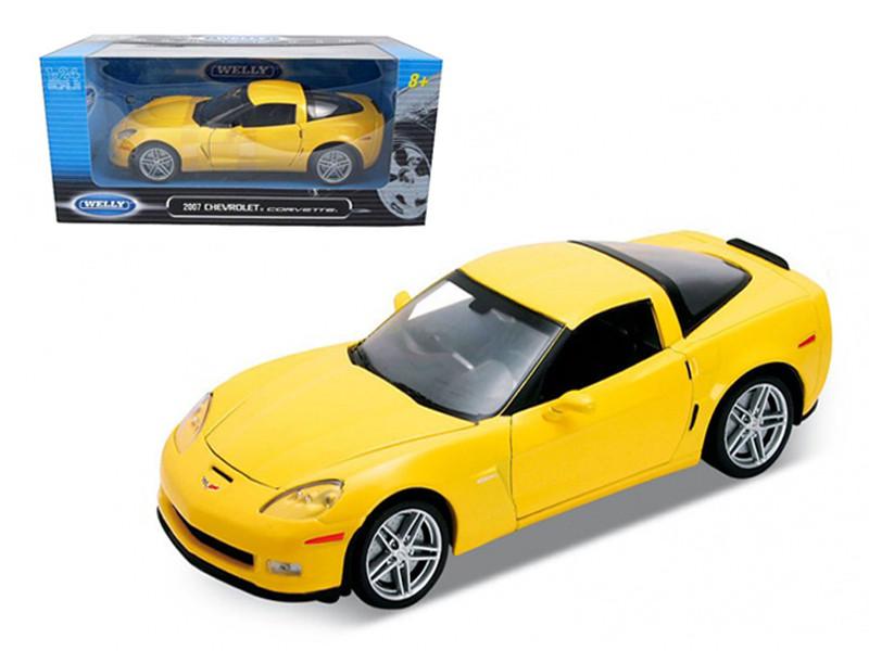 2007 Chevrolet Corvette C6 Z06 Yellow 1/24 Diecast Car Model Welly 22504