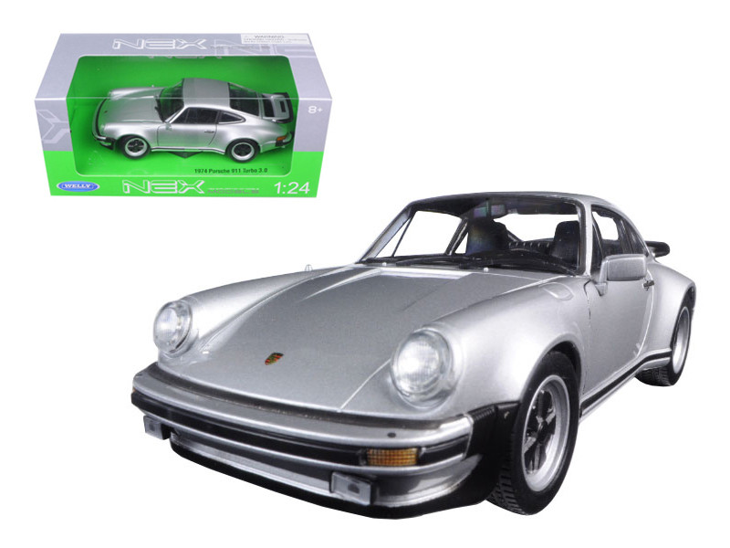 1974 Porsche 911 Turbo 3.0 Silver 1/24 Diecast Model Car Welly 24043