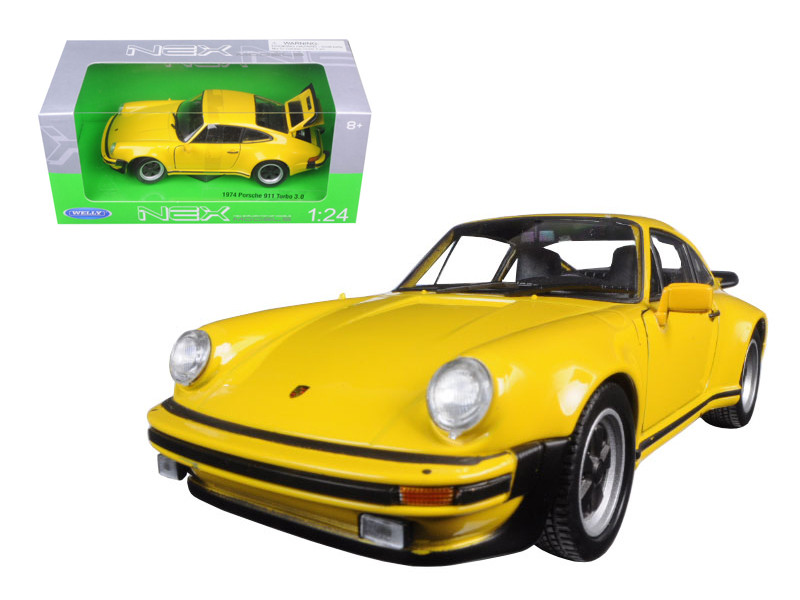 1974 Porsche 911 Turbo 3.0 Yellow 1/24 Diecast Model Car Welly 24043