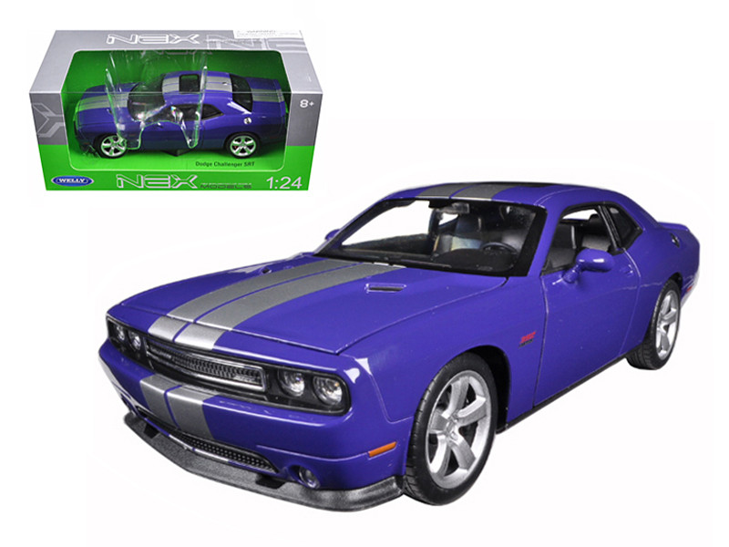Dodge Challenger SRT Purple Silver Stripes 1/24 1/27 Diecast Model Car Welly 24049