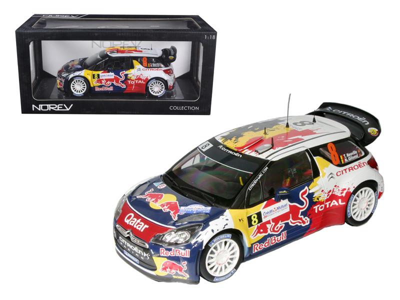 """Citroen DS3 #8 WRC Rally France 2012 Neuville / Gilsoul """"Red Bull"""" 1/18 Diecast Car Model Norev 181553"""