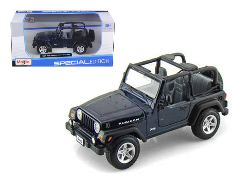 Jeep Wranger Rubicon Blue 1/27 Diecast Model Car by Maisto