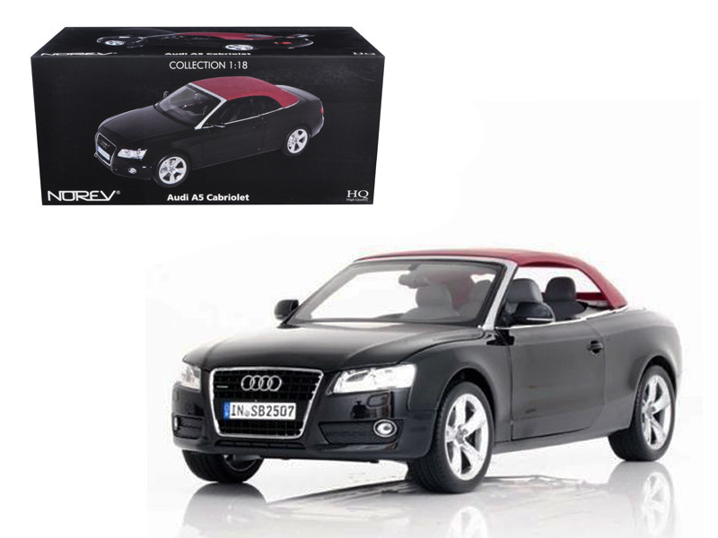 2009 Audi A5 Convertible Brilliant Black 1/18 Diecast Model Car Norev 188355