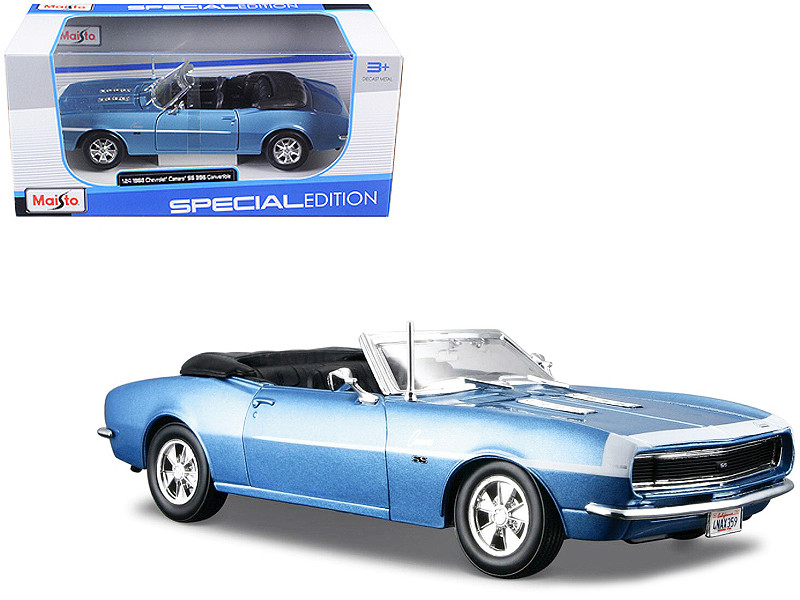 1968 Chevrolet Camaro SS 396 Blue 1/24 Convertible Diecast Model Car Maisto 31257