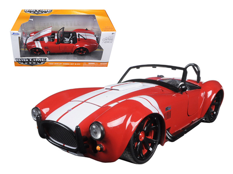 1965 Shelby Cobra 427 S/C Red With White Stripes 1/24 Diecast Model Car Jada 90537