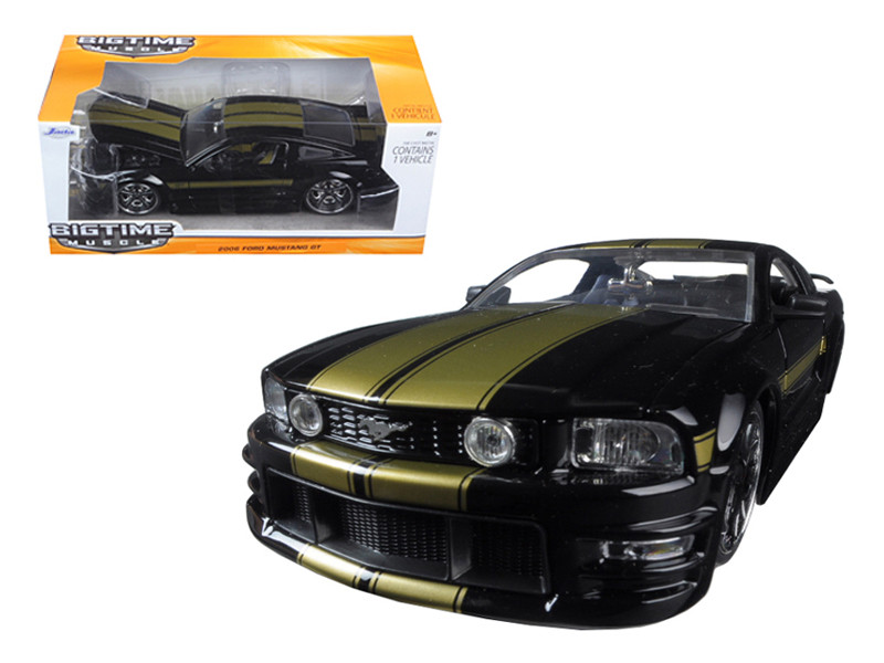 2006 Ford Mustang GT Black With Gold Stripes 1/24 Diecast Model Car Jada 90658
