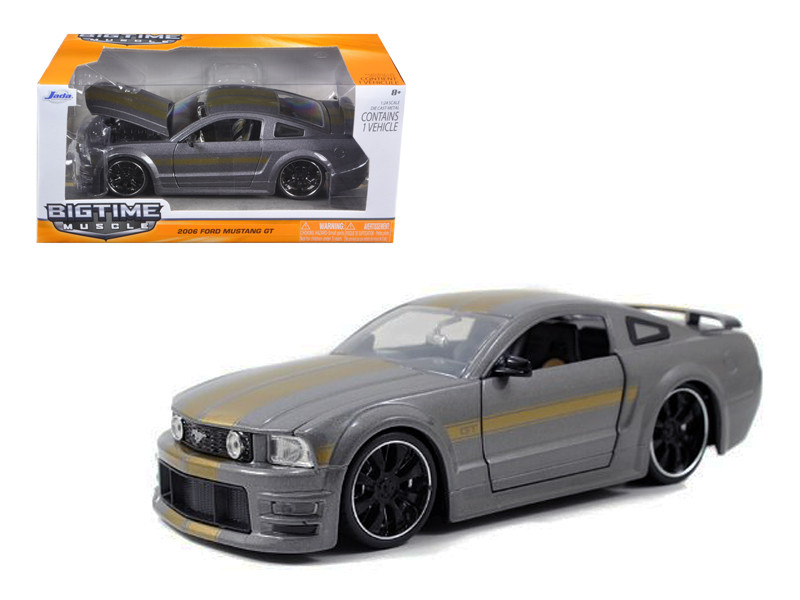 2006 Ford Mustang GT Grey With Gold Stripes 1/24 Diecast Car Model Jada 90658