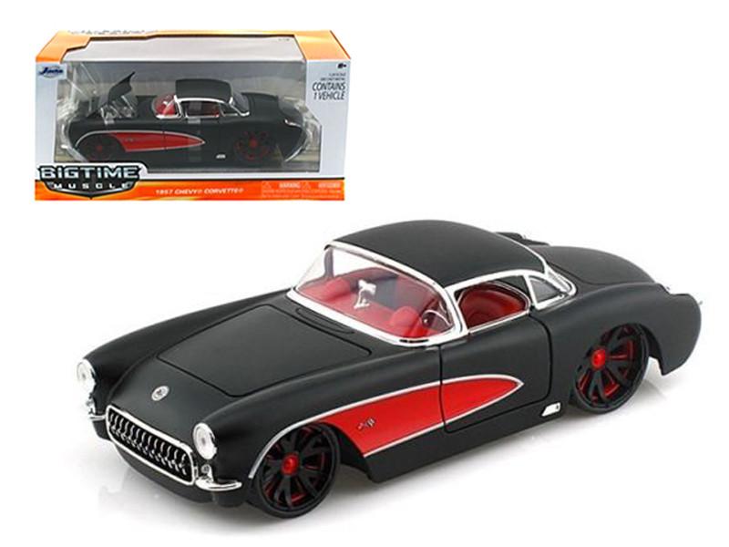 1957 Chevrolet Corvette Hard Top Primered Black With Red 1/24 Diecast Model Car Jada 90935