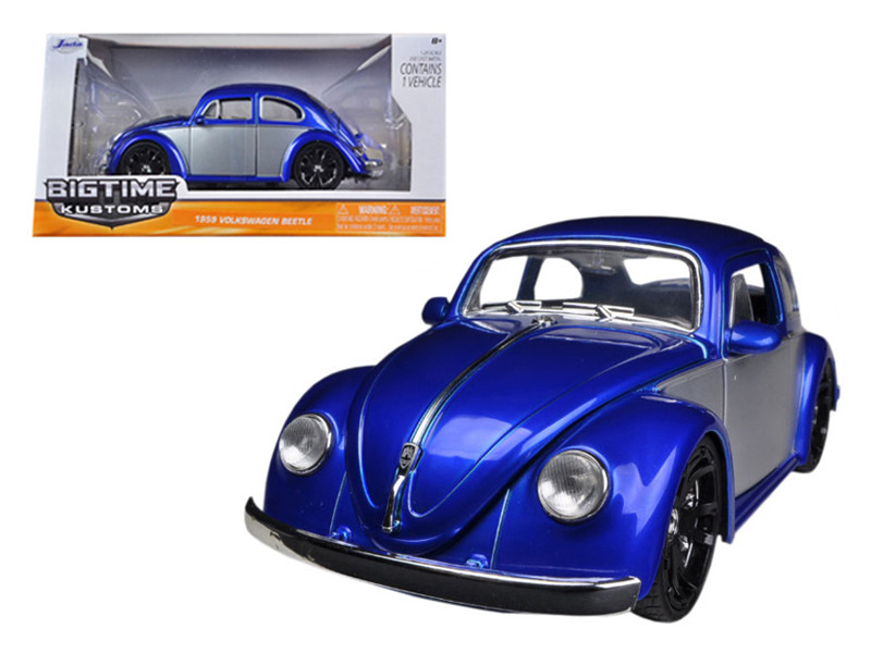 1959 Volkswagen Beetle Blue / Silver 1/24 Diecast Car Model by Jada