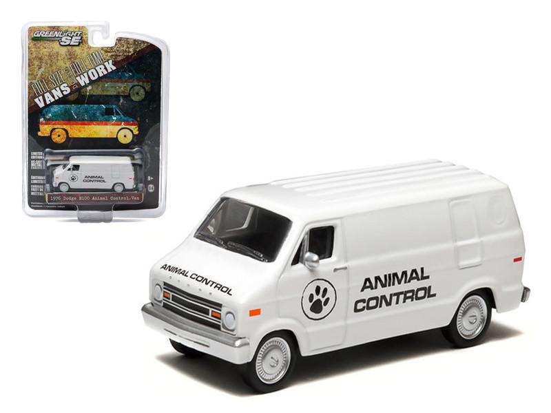 1976 Dodge B-100 Van Animal Control Hobby Exclusive 1/64 Diecast Car Model Greenlight 29782