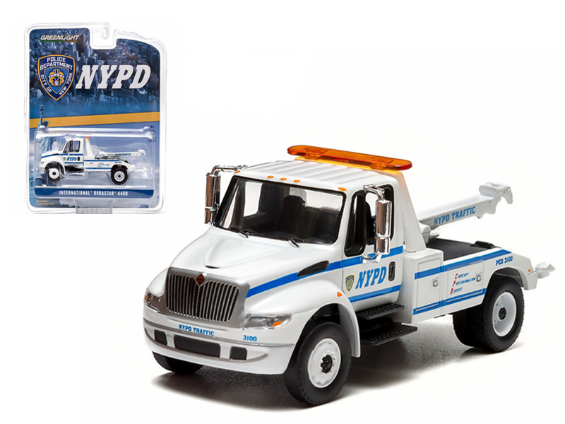 2013 International Durastar 4400 NYPD Tow Truck White 1/64 Diecast Model Greenlight 29797