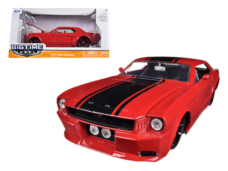 1965 Ford Mustang Red With Black Stripes 1/24 Diecast Car Model Jada 96895
