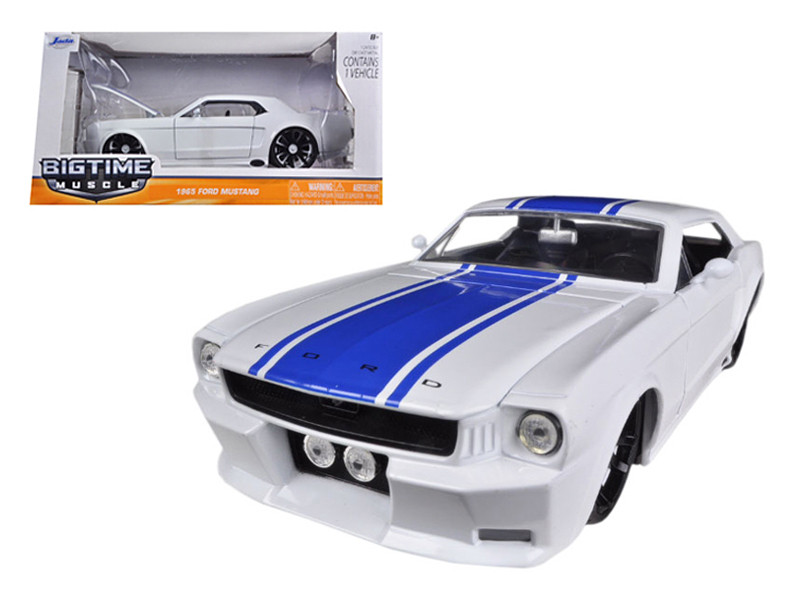 1965 Ford Mustang White With Blue Stripes 1/24 Diecast Car Model Jada 96895