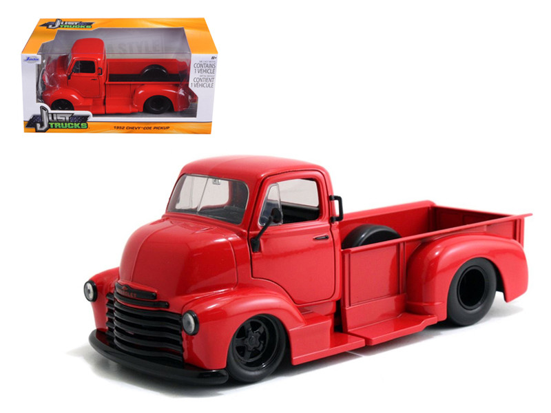 1952 Chevrolet COE Pickup Truck Red with Black Wheels 1/24 Diecast Model Jada 97046