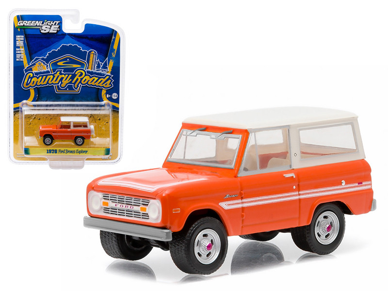 "1976 Ford Bronco Orange ""Explorer Package"" Country Roads Series 14 1/64 Diecast Model Car Greenlight 29830 C"