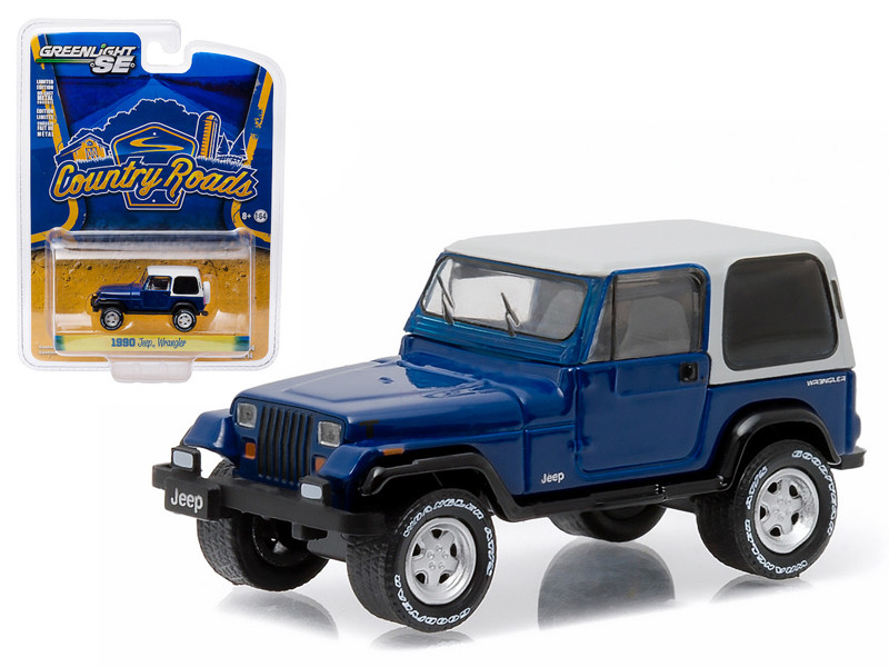 """1990 Jeep Wrangler YJ """"Country Roads"""" Series 14 1/64 Diecast Model Car Greenlight 29830 D"""