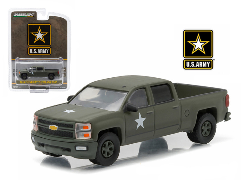 2015 Chevrolet Silverado Pickup Truck US Army LSSV 1/64 Diecast Model Greenlight 29834