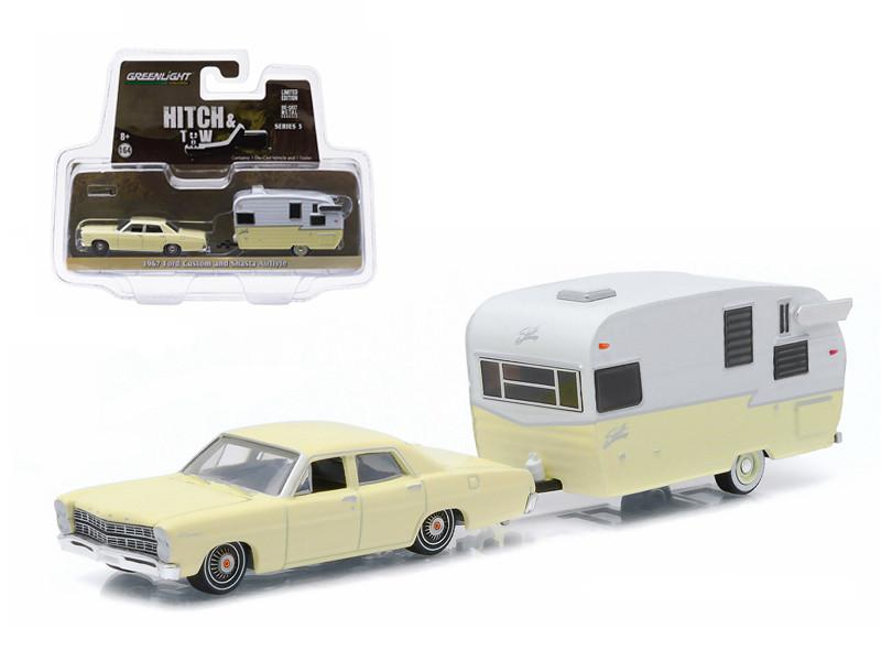 1967 Ford Custom Yellow and Shasta 15ft Airflyte 1/64 Diecast Model Car Greenlight 32050 C
