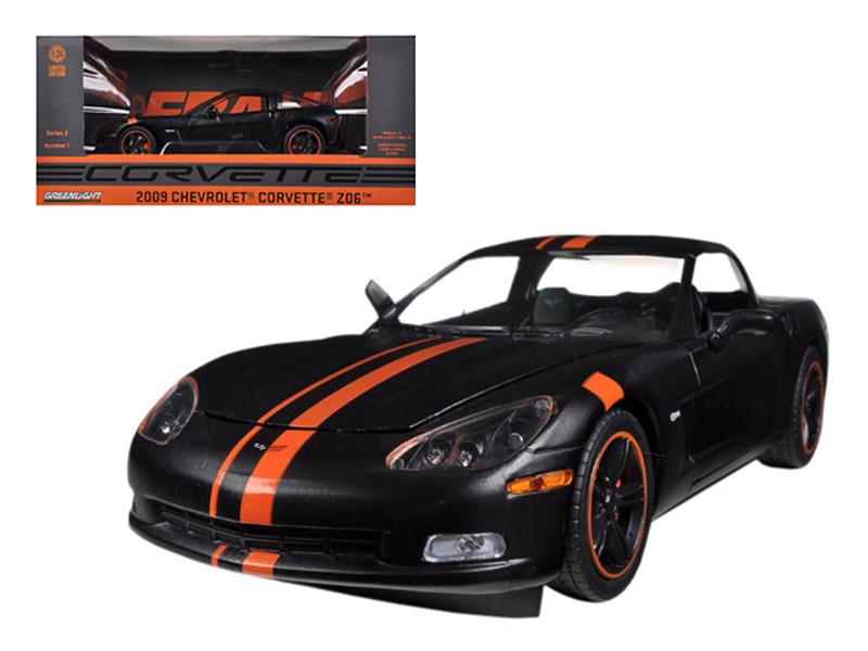 2009 Chevrolet Corvette C6 Z06 Black / Orange 1/24 Diecast Car Model Greenlight 50227 B