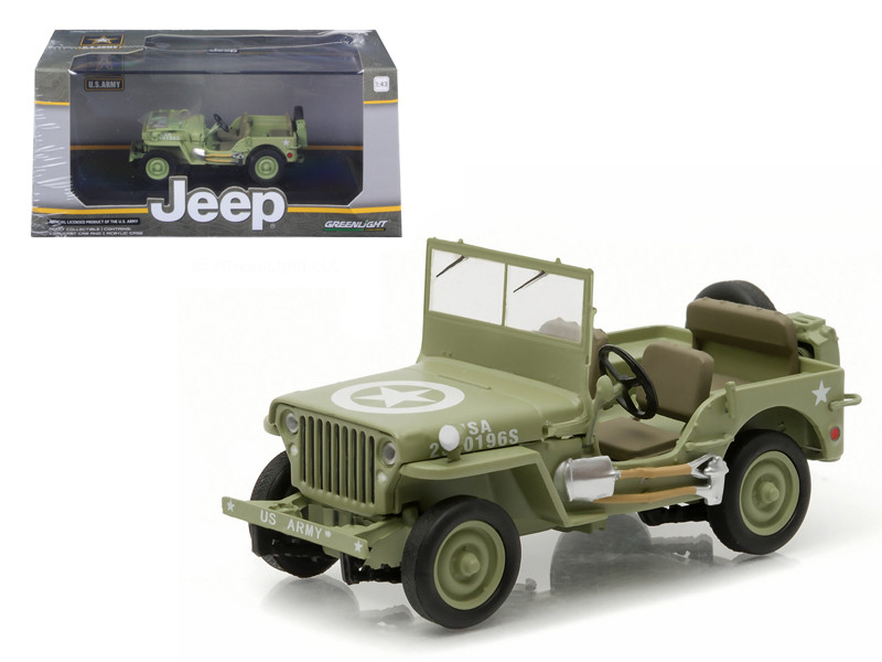 1944 Jeep Willys C7 U.S. Army Green with Star on Hood 1/43 Diecast Model Car Greenlight 86307
