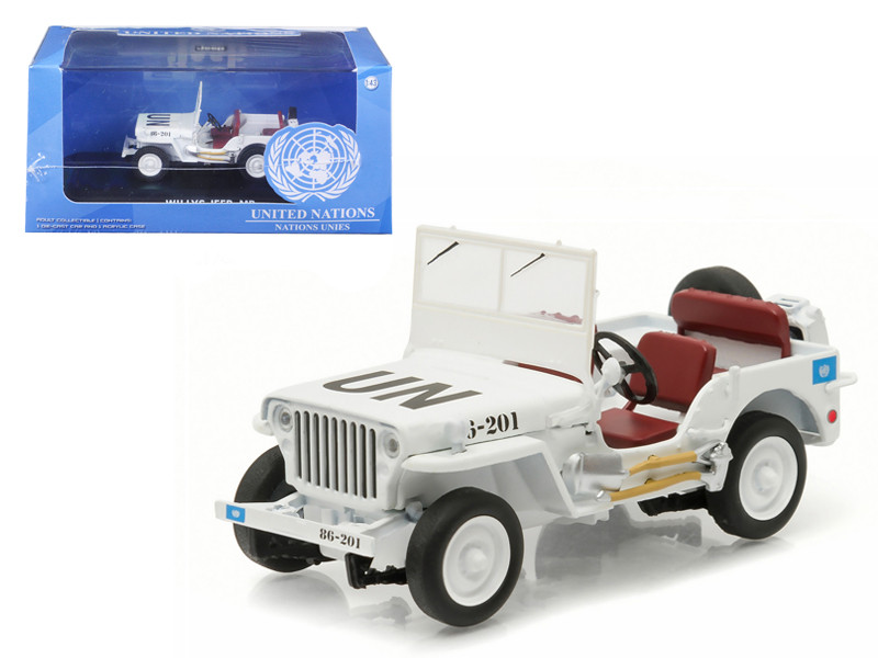 1944 Jeep Willys UN United Nations White 1/43 Diecast Model Car Greenlight 86308