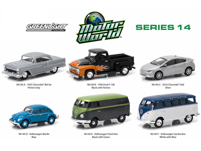 Motor World Series 14 6pc Diecast Car Set 1/64 Diecast Model Cars Greenlight 96140