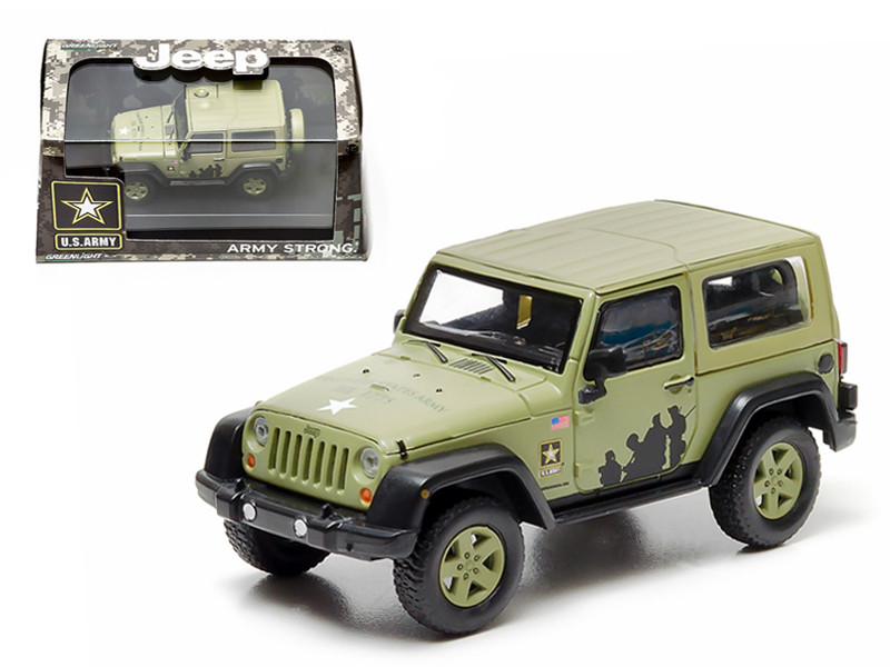 2012 Jeep Wrangler U.S. Army Hard Top Light Green With Display Showcase 1/43 Diecast Model Greenlight 86042