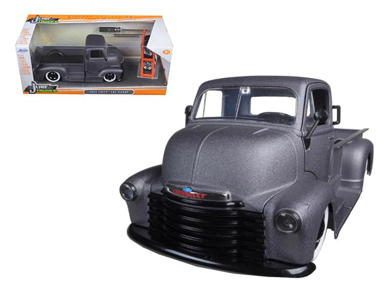 "1952 Chevrolet Coe Pickup Truck Matt Grey ""Just Trucks"" with Extra Wheels 1/24 Diecast Model Jada 97221"