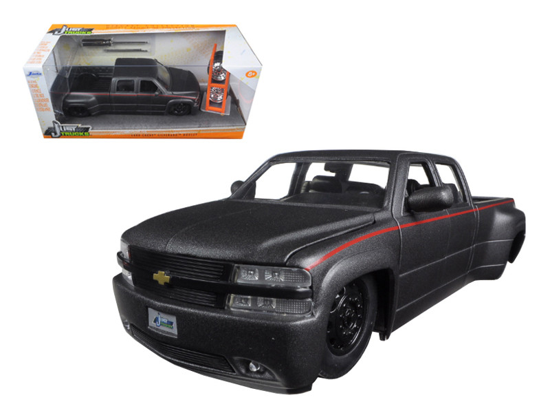 "1999 Chevrolet Silverado Dooley Pickup Truck Matt Grey ""Just Trucks"" with Extra Wheels 1/24 Diecast Model Jada 97301"