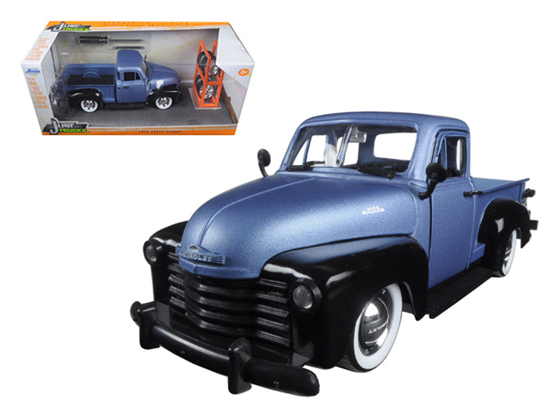 "1953 Chevrolet Pickup Truck Blue/Black ""Just Trucks"" with Extra Wheels 1/24 Diecast Model Jada 97330"