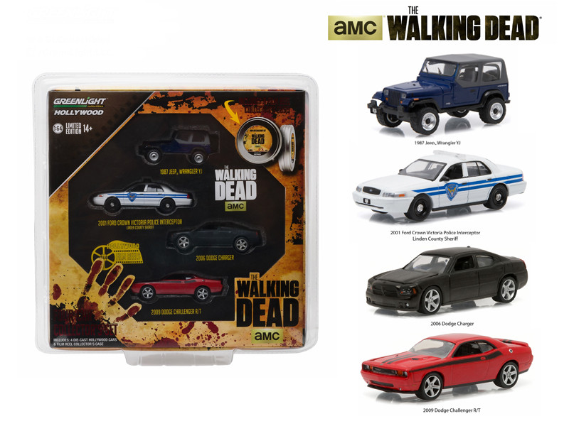 "Hollywood Film Reels Series 4 ""The Walking Dead"" (2010-Current) TV Series 4 Cars Set 1/64 Diecast Model Cars Greenlight 59040 B"